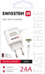Swissten nabíječka do sítě s MicroUSB kabelem 2.4A bílá