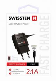 Swissten nabíječka do sítě s MicroUSB kabelem 2.4A černá