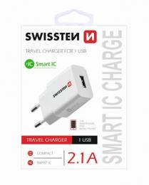 Swissten síťový adaptér Smart IC 2.1A bilé