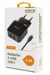 Nabíječka Aligator CHA0014 s dvěma porty 2.4A s USB-C kabelem