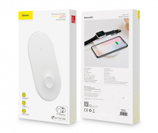 Bezdrátová nabíječka Baseus 2v1 pro Apple iPhone a Apple Watch 10W bílá