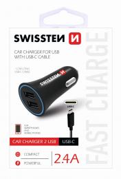 Autonabíječka Swissten CL 2.4A se dvěma výstupy + USB-C kabel
