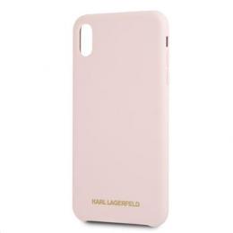 Pouzdro Karl Lagerfeld (KLHCI65SLPG) Silicone Case Gold Logo pro Apple iPhone Xs MAX růžové