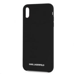 Pouzdro Karl Lagerfeld (KLHCI65SLBKS) Silicone Case Silver Logo pro Apple iPhone Xs MAX černé