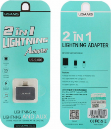 USAMS SJ096 Adapter Lightning/3,5mm- Lightning 2v1 šedý