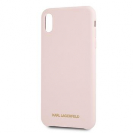 Pouzdro Karl Lagerfeld (KLHCPXSLLPG) Gold Logo Silicone Case pro Apple iPhone X/Xs růžové