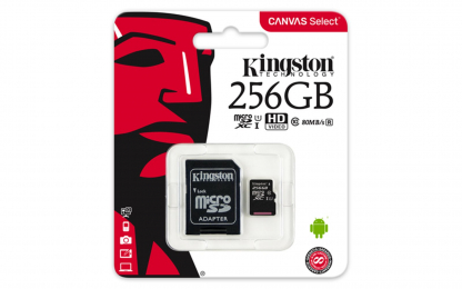 Paměťová karta Kingston MicroSDXC 256GB (SDCS/256GB) UHS-1 + SD adaptér