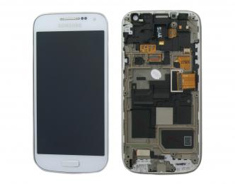 LCD Displej + Dotykové sklo + Přední kryt Samsung i9195i Galaxy S4 mini VE - originál bílý