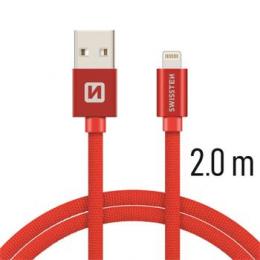 Datový kabel Swissten Textile Lightning 2.0m červený