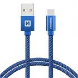 Datový kabel Swissten Textile USB-C 2.0m modrý