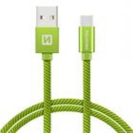 Datový kabel Swissten Textile USB-C 2.0m zelený