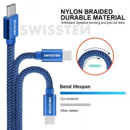 Datový kabel Swissten Textile USB-C 1.2m modrý