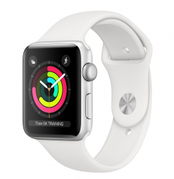 Apple Watch Series 3 42mm stříbrné + bílý řemínek