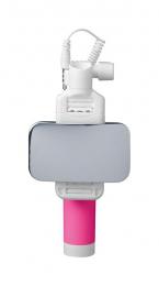 Selfie tyč CellularLine Total View s otočným zrcátkem růžová