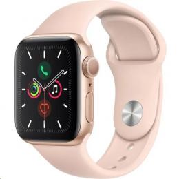 Apple Watch (MWVE2HC/A) Series 5 44mm zlaté s růžovým řemínkem