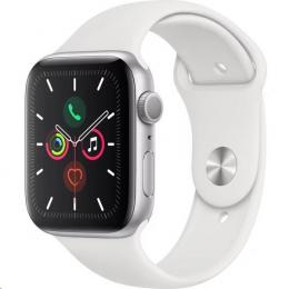 Apple Watch (MWVD2HC/A) Series 5 44mm stříbrné s bílým řemínkem