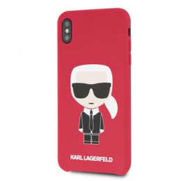Pouzdro Karl Lagerfeld (KLHCI65SLFKRE) Full Body Iconic Silicone pro Apple iPhone Xs MAX Red