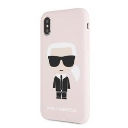 Pouzdro Karl Lagerfeld (KLHCPXSLFKPI) Iconic Bull Body Silicone pro Apple iPhone X/Xs Pink