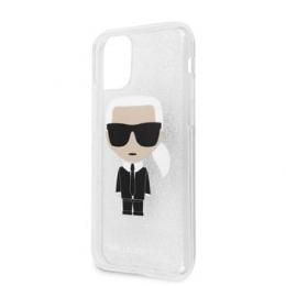 Pouzdro Karl Lagerfeld (KLHCN61TPUTRIKSI) Glitter Iconic pro Apple iPhone 11 Silver