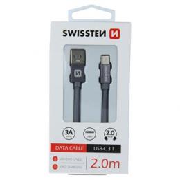 Datový kabel Swissten Textile USB-C 2.0m šedý