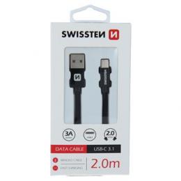 Datový kabel Swissten Textile USB-C 2.0m černý