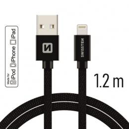 Datový kabel Swissten Textile Lightning MFI 1.2 m černý
