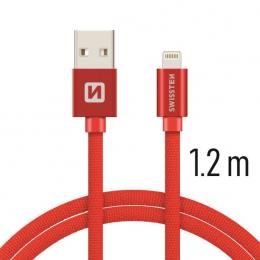 Datový kabel Swissten Textile Lightning 1.2 m červený