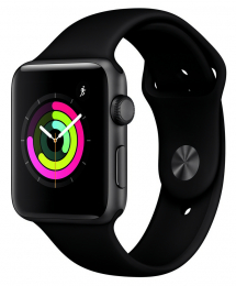 Apple Watch Series 3 42mm šedé + černý řemínek