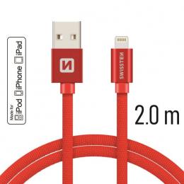 Datový kabel Swissten Textile Lightning MFI 2.0 m červený