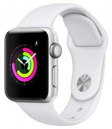 Apple Watch Series 3 38mm stříbrné + bílý řemínek
