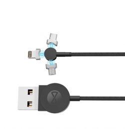 Datový kabel Forever (DATUSBCMIC25A1MFOBK) Core 3v1 magnetický (USB-C, Lightning, MicroUSB) černý