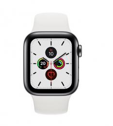 Apple Watch Series 5 40mm GPS+LTE šedá nerezová ocel + keramická záda s bílým řemínkem (nové bez krabičky)