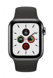 Apple Watch Series 5 40mm GPS+LTE šedá nerezová ocel + keramická záda s černým řemínkem (nové bez krabičky)