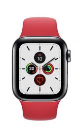 Apple Watch Series 5 40mm GPS+LTE šedá nerezová ocel + keramická záda s červeným řemínkem (nové bez krabičky)