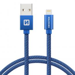 Datový kabel Swissten Textile Lightning 2.0m modrý