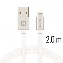 Datový kabel Swissten Textile Lightning 2.0m stříbrný