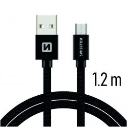 Datový kabel Swissten Textile MicroUSB 1.2m černé