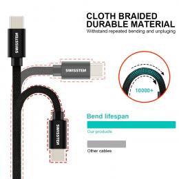 Datový kabel Swissten Textile USB-C 1.2m černý