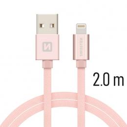 Datový kabel Swissten Textile Lightning 2.0m růžovo zlatý