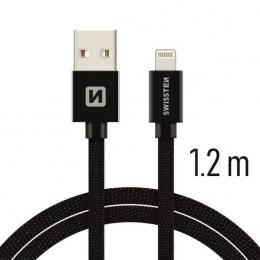 Datový kabel Swissten Textile Lightning 1.2 m černý