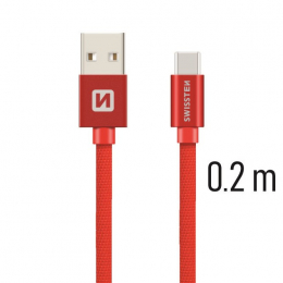 Datový kabel Swissten Textile USB-C 0.2m červený