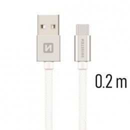 Datový kabel Swissten Textile USB-C 0.2m stříbrný