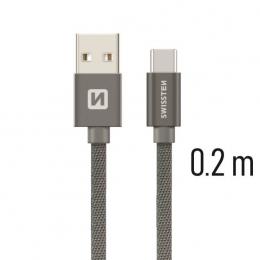 Datový kabel Swissten Textile USB-C 0.2m šedý