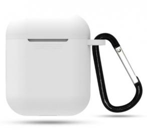 Silikonové pouzdro s karabinou pro Apple Airpods a Airpods 2019 bílé