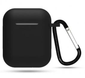 Silikonové pouzdro s karabinou pro Apple Airpods a Airpods 2019 černý