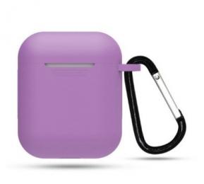 Silikonové pouzdro s karabinou pro Apple Airpods a Airpods 2019 fialové
