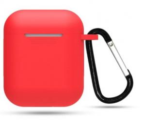 Silikonové pouzdro s karabinou pro Apple Airpods a Airpods 2019 červené