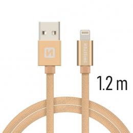 Datový kabel Swissten Textile Lightning 1.2 m zlatý