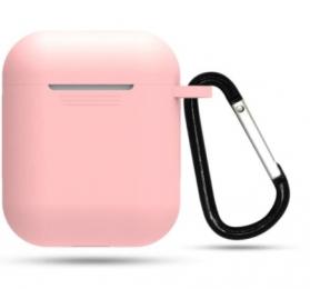 Silikonové pouzdro s karabinou pro Apple Airpods a Airpods 2019 růžové