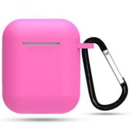 Silikonové pouzdro s karabinou pro Apple Airpods a Airpods 2019 tmavě růžové